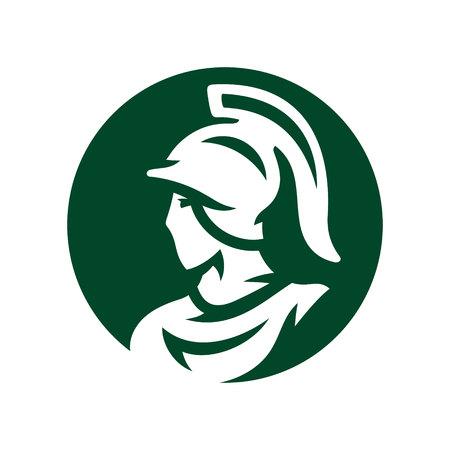 Spartan in helmet silhouette sign