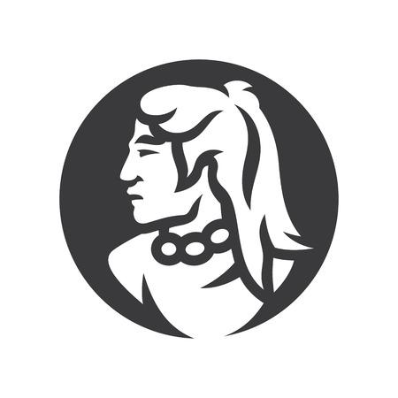Injun warrior sign simple silhouette Illustration. Illustration
