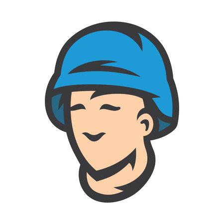 Vector Peacemaker in blue helmet Cartoon Illustration.