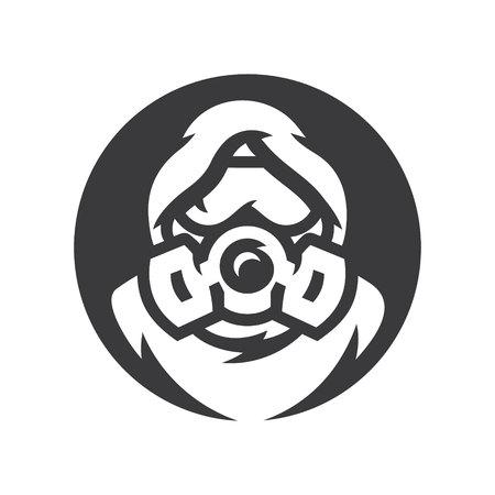Full-face gas mask man isolated white background Illustration