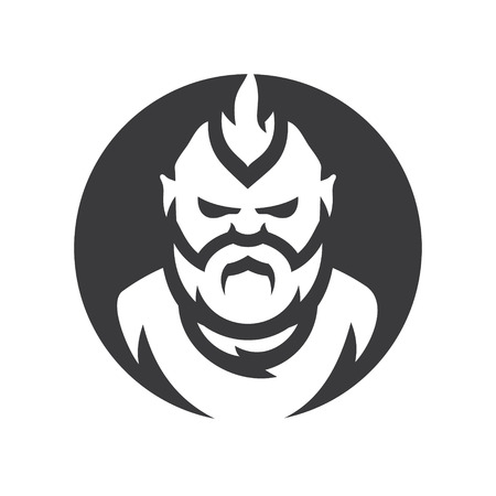 Bearded man vector silhouette sign.  イラスト・ベクター素材