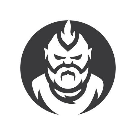 Bearded man vector silhouette sign. Иллюстрация