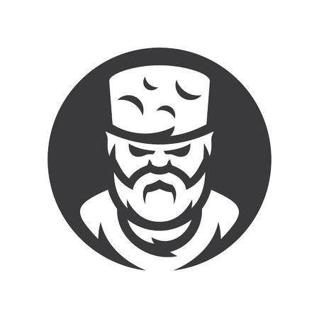 Highlander Chechen man vector silhouette sign.