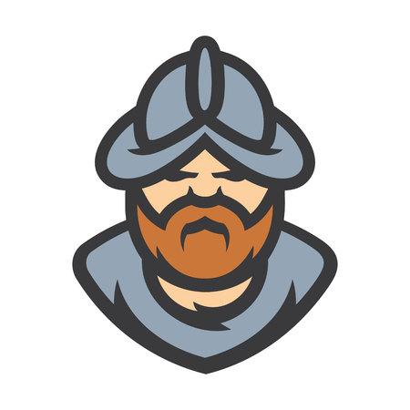 Conquistador medieval conqueror warrior vector sign