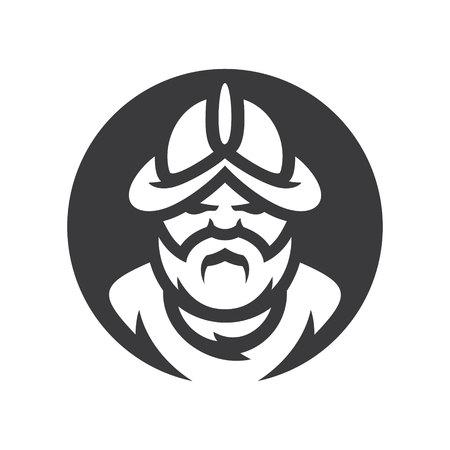 Conquistador medieval conqueror warrior vector silhouette sign. Illustration