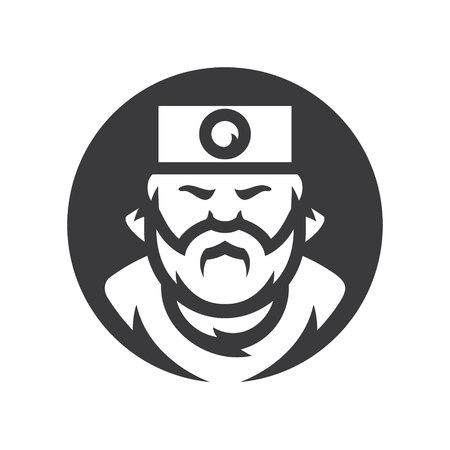 Samurai japan Vector Cartoon illustration silhouette sign. Illustration