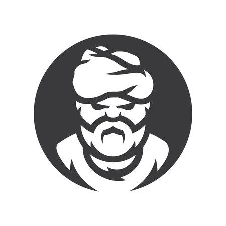 Arabic man Vector silhouette sign.