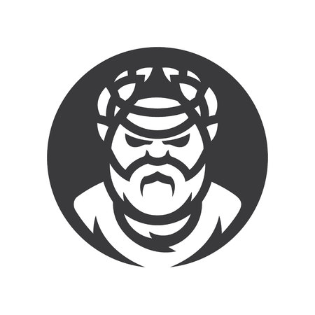 Roman, greek philosopher Vector silhouette sign.