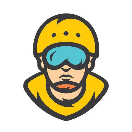 Rafting, kayaking athlete Vector Cartoon illustration. Stock Vector - 125295839