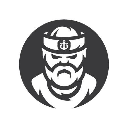 Sailor man Vector silhouette sign.  イラスト・ベクター素材