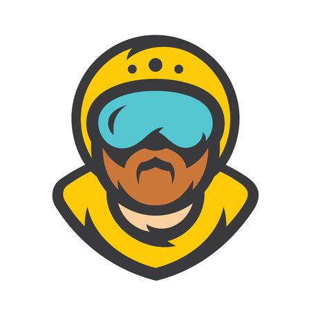 Skydiving. Skydiver athlete Vector Cartoon illustration.