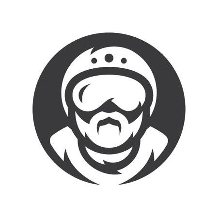Skydiving. Skydiver athlete Vector silhouette sign. Illustration