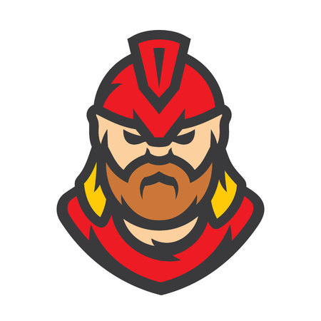 Spartan warrior Vector Cartoon illustration.