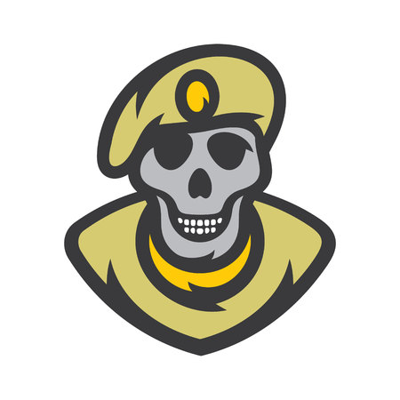 Skull soldier Vector Cartoon illustration.