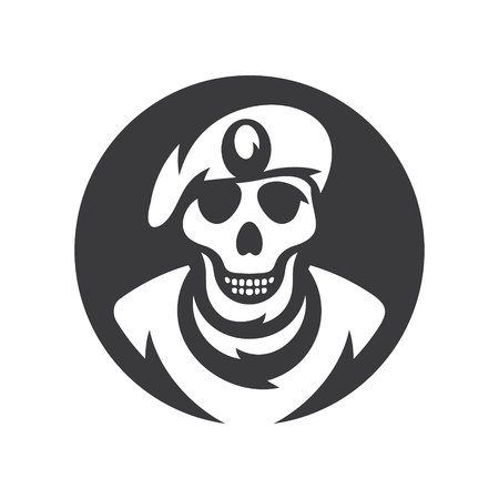 Skull soldier Vector silhouette sign.