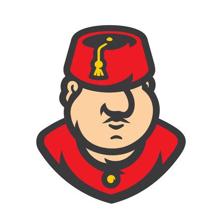 Turkish Man Wearing Fez Vector Cartoon illustration. Иллюстрация