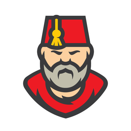 Turkish Man Wearing Fez Vector Cartoon illustration. 일러스트