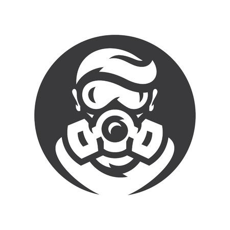Nuklearer Überlebender der Post-Apokalypse Vektor-Silhouette-Zeichen.
