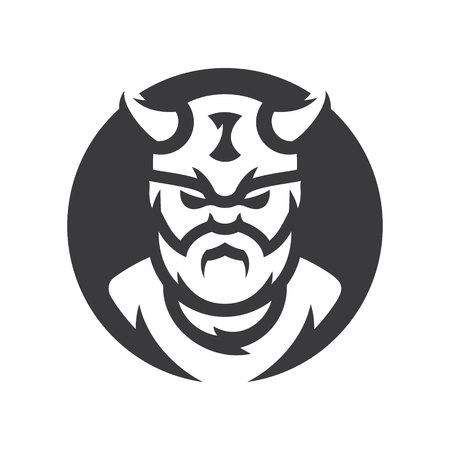 Viking warrior Vector silhouette sign.  イラスト・ベクター素材