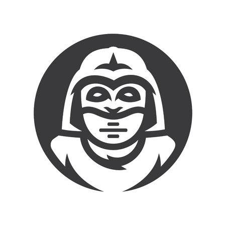 Alien warrior Vector silhouette sign.