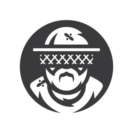 Apiary Beekeeper Vector silhouette sign. Иллюстрация