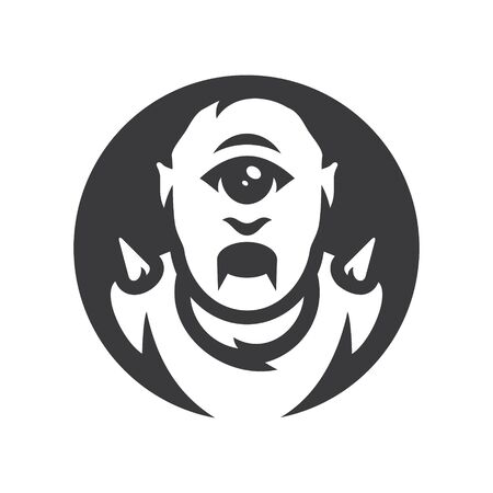 Angry Cyclops halloween mask Vector silhouette sign