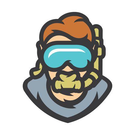 Diver in underwater mask Vector Cartoon illustration.