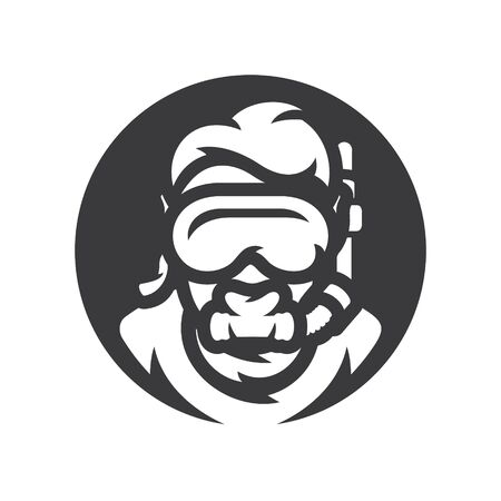 Diver in underwater mask Vector silhouette sign.