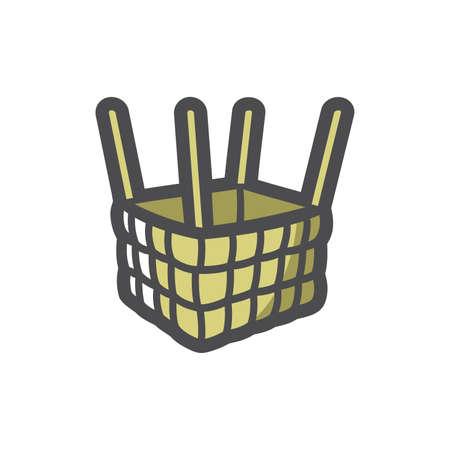 Air Balloon Basket and slings Vector Cartoon illustration