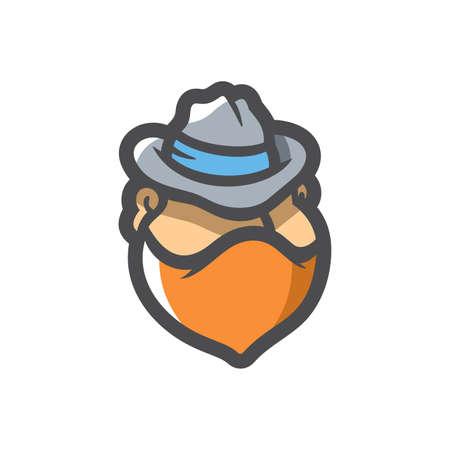Masked criminal in Hat Vector Cartoon illustration