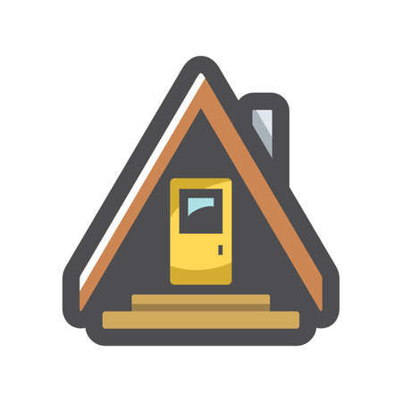 Camping House in forest Vector icon Cartoon illustration.