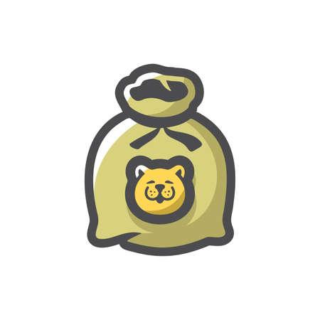 Cat in sack. Animals bag Vector icon Cartoon illustration. Illustration