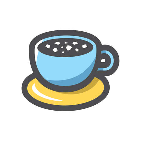 Coffee Blue Cup Vector icon Cartoon illustration