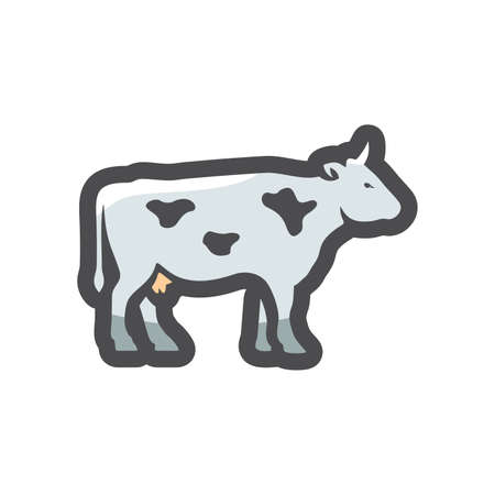 White spotted Cow Vector icon Cartoon illustration 矢量图像