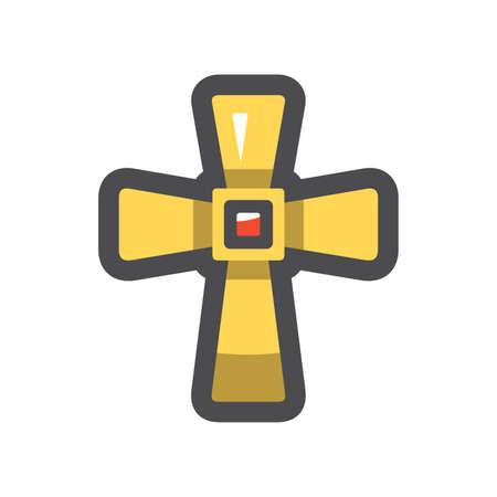 Golden cross Christianity Symbol Vector icon Cartoon illustration