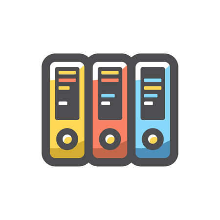 Office folders. Colored ring binders Vector icon Cartoon illustration