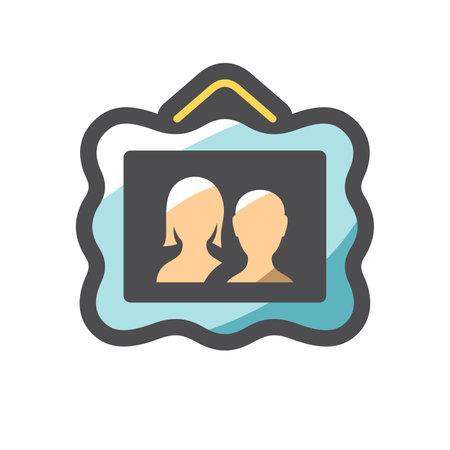 Family picture. Couple photo Vector icon Cartoon illustration