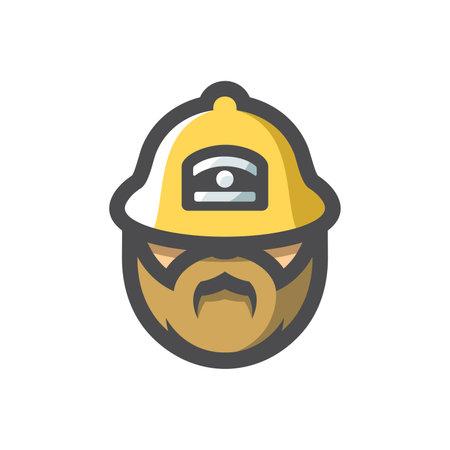 Fireman in helmet Vector icon Cartoon illustration 矢量图像