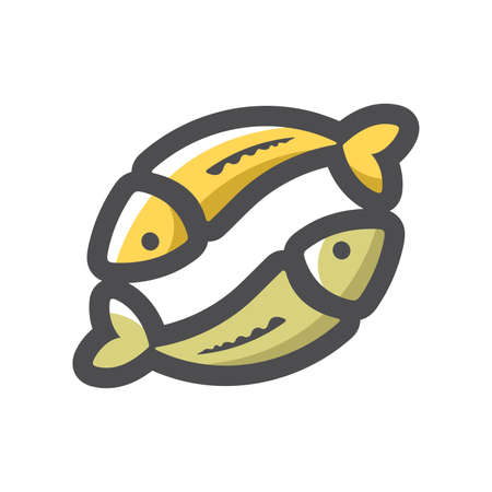 Two Fishes Couple Vector icon Cartoon illustration