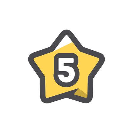 Five Stars Rating Vector icon Cartoon illustration 矢量图像