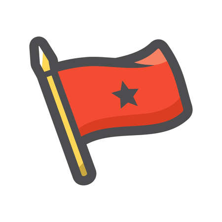 Red Flag Staff and Banner Vector icon Cartoon illustration
