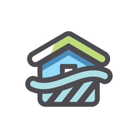 Flood Disaster Home Vector icon Cartoon illustration