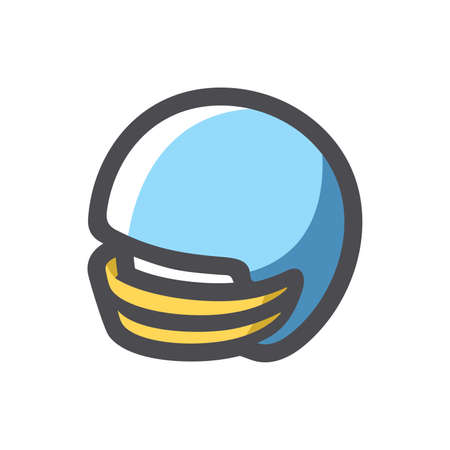 Helmet football team blue Vector icon Cartoon illustration