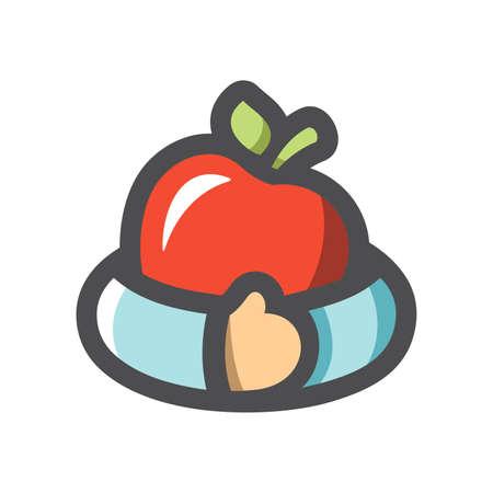 Fruit Teft Apple Hug Vector icon Cartoon illustration