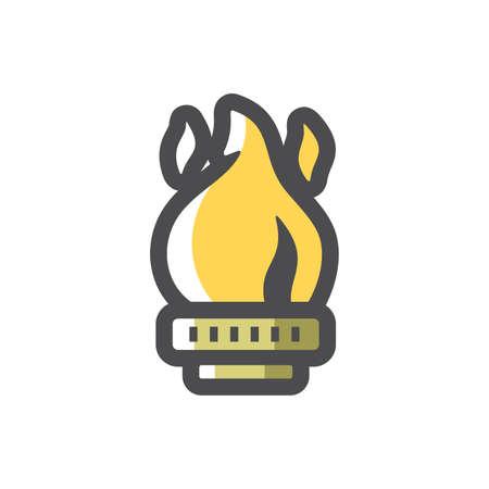 Gas burner Flame Vector icon Cartoon illustration.