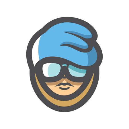 Homeless Man with Glasses Vector icon Cartoon illustration. 矢量图像
