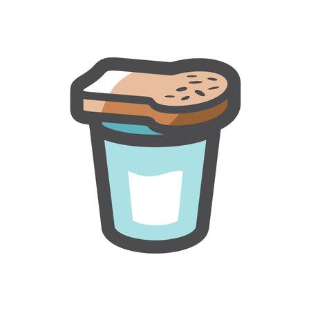 Bread on a Glass Vector icon Cartoon illustration.