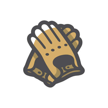 Leather Gloves Protective Clothing Vector icon Cartoon illustration.