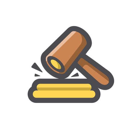 Gavel Hammer Court Vector icon Cartoon illustration. 矢量图像