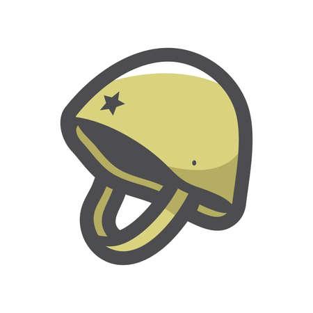 Military Helmet Hard Hat Vector icon Cartoon illustration.